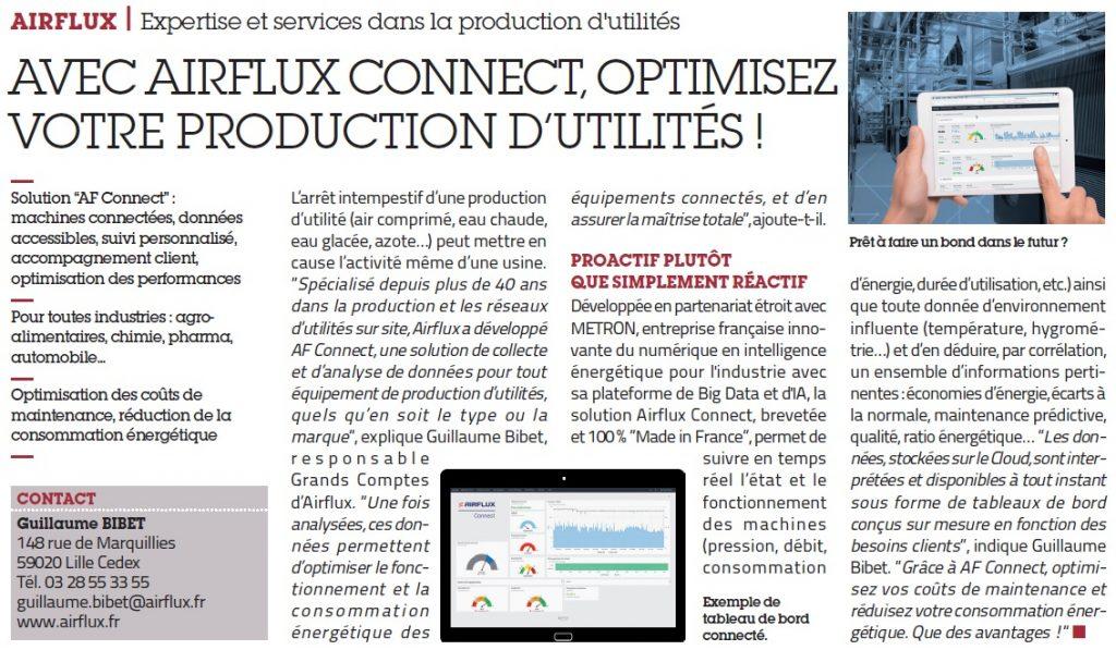 Article sur Airflux Connect dans l'Usine Nouvelle